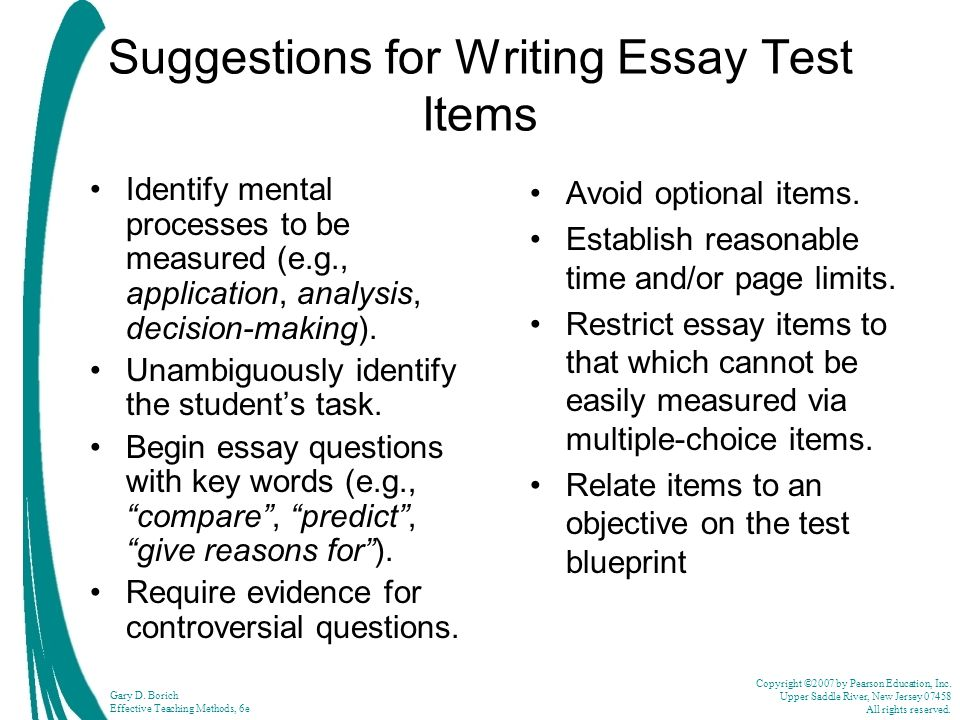 Suggestions for Writing Essay Test Items