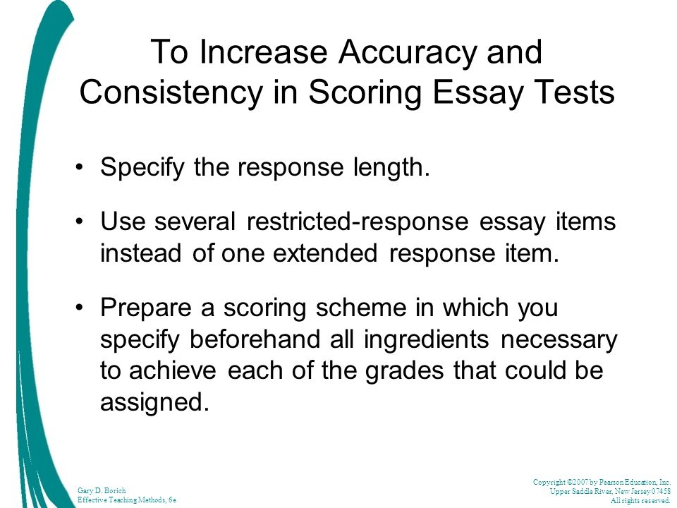 To Increase Accuracy and Consistency in Scoring Essay Tests
