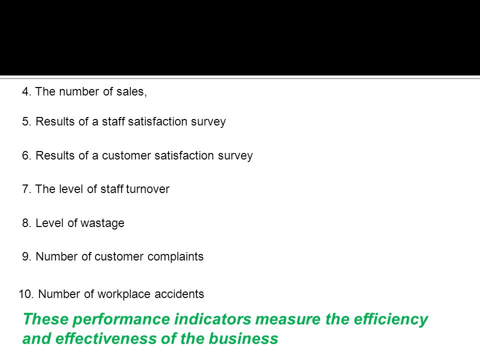 4. The number of sales, 5. Results of a staff satisfaction survey. 6. Results of a customer satisfaction survey.