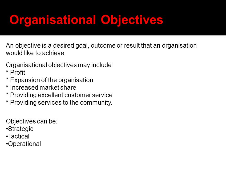 Organisational Objectives