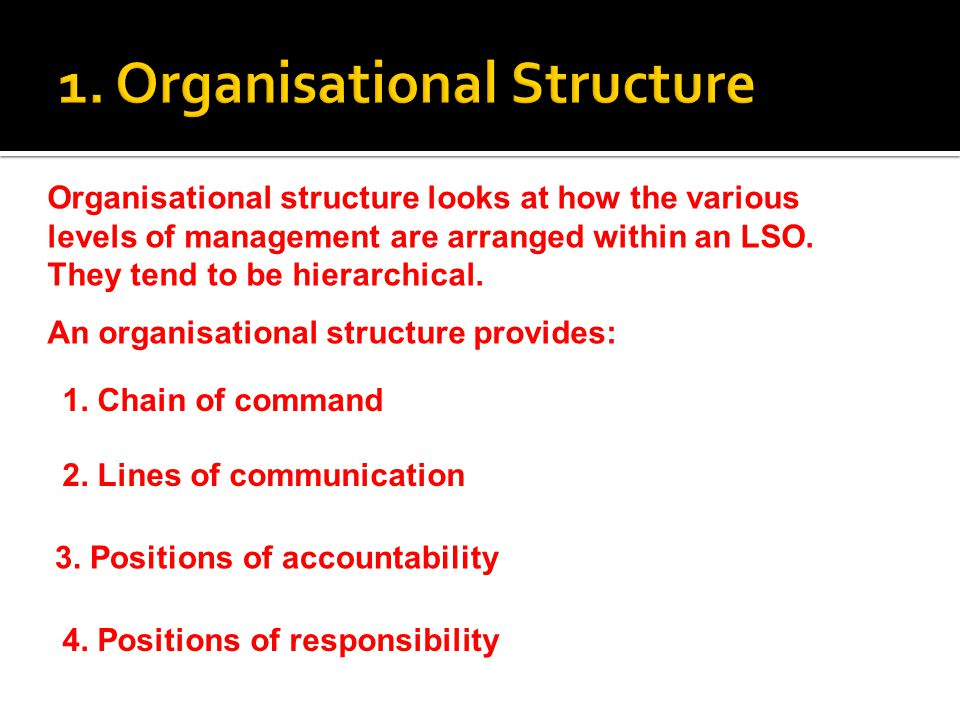 1. Organisational Structure