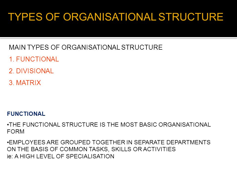 TYPES OF ORGANISATIONAL STRUCTURE