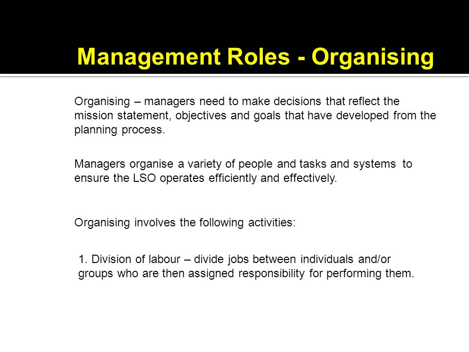 Management Roles - Organising