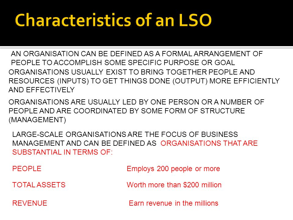 Characteristics of an LSO