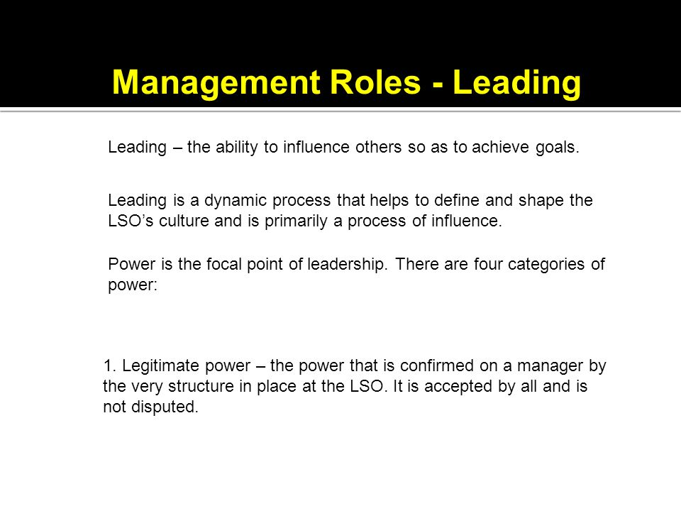 Management Roles - Leading