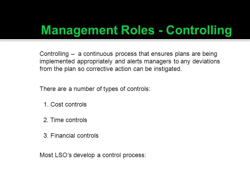 Management Roles - Controlling