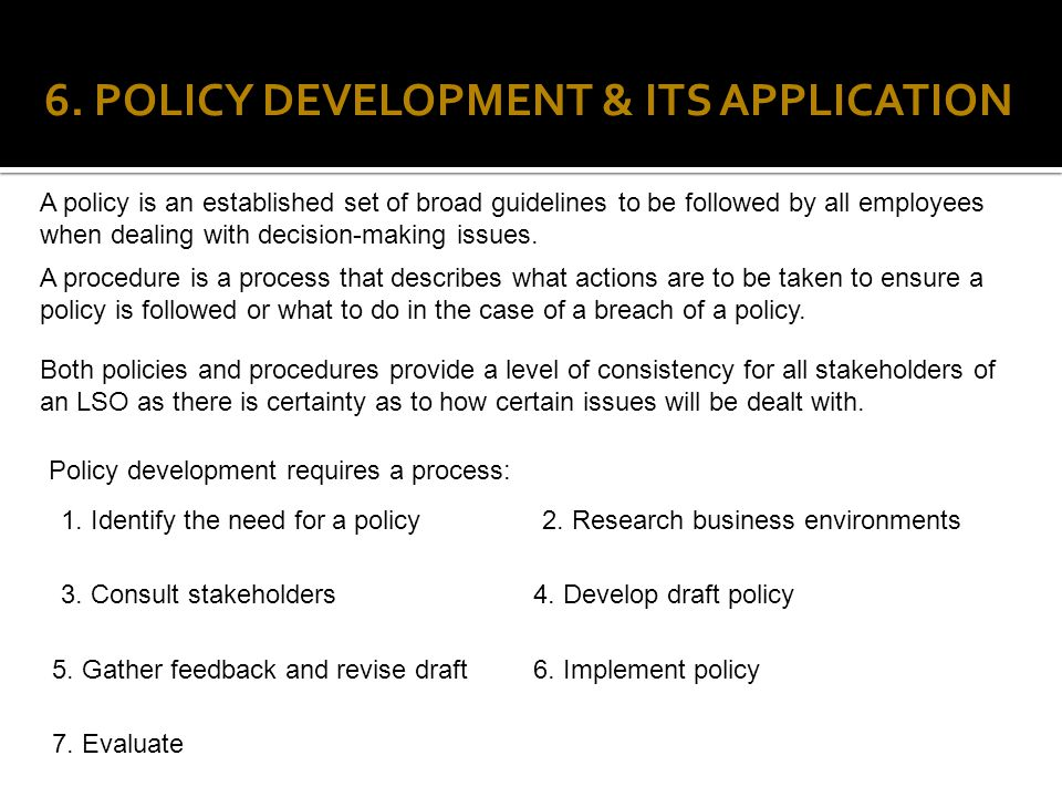 6. POLICY DEVELOPMENT & ITS APPLICATION