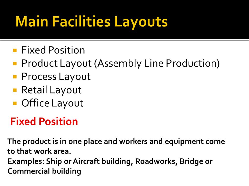 Main Facilities Layouts