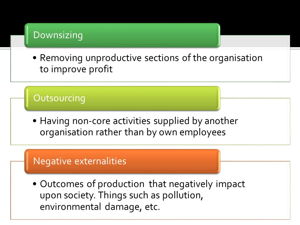 Removing unproductive sections of the organisation to improve profit