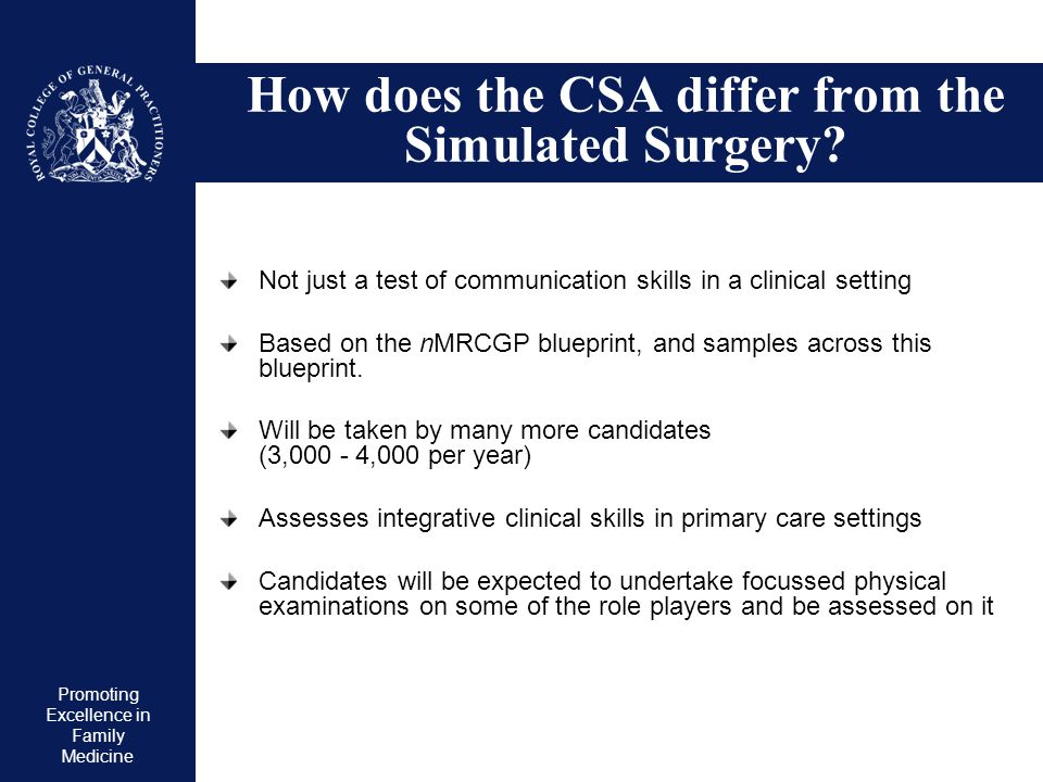 How does the CSA differ from the Simulated Surgery
