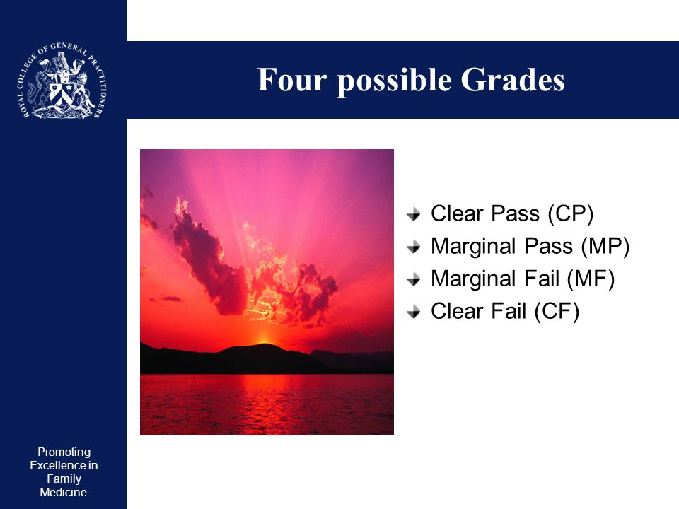 Four possible Grades Clear Pass (CP) Marginal Pass (MP)