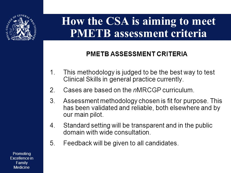 How the CSA is aiming to meet PMETB assessment criteria