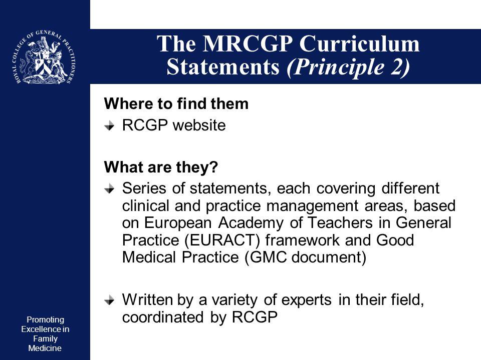 The MRCGP Curriculum Statements (Principle 2)