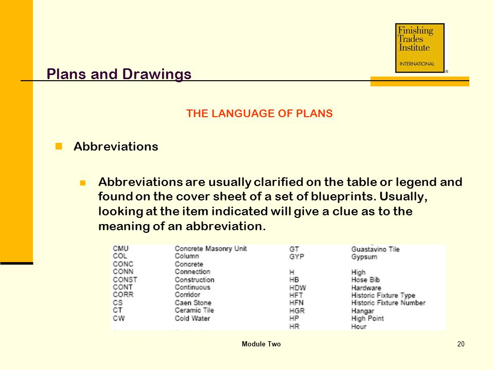 Plans and Drawings Abbreviations
