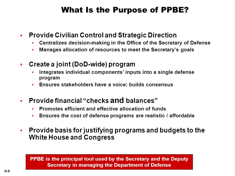 What Is the Purpose of PPBE