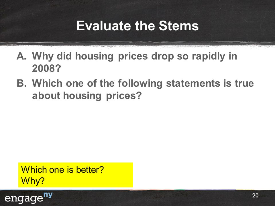 Evaluate the Stems Why did housing prices drop so rapidly in 2008