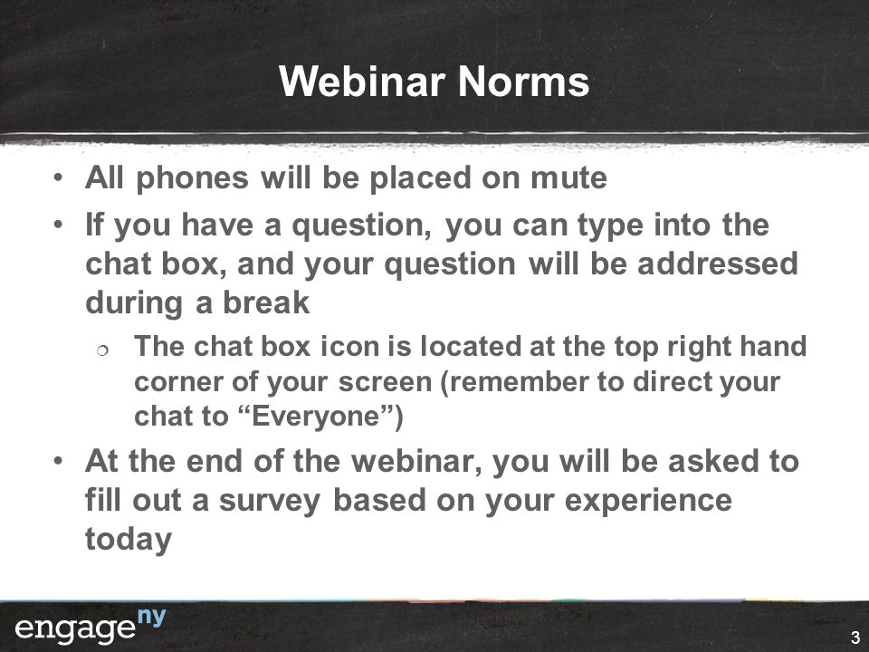 Webinar Norms All phones will be placed on mute