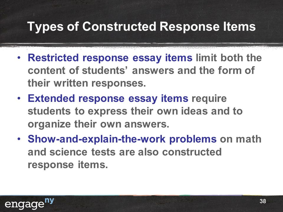 Types of Constructed Response Items