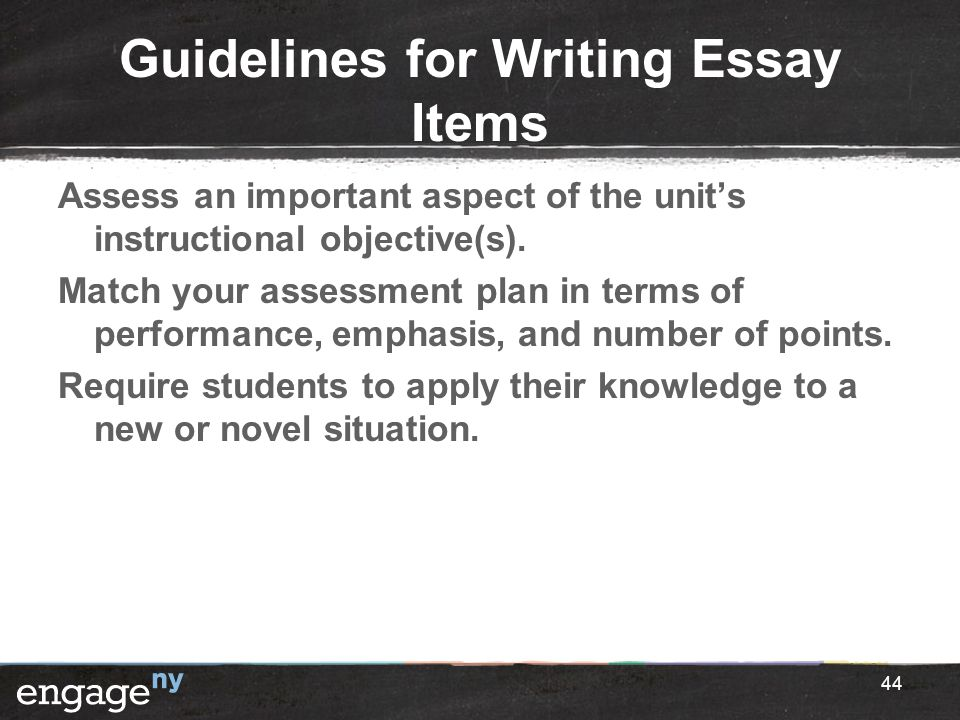 Guidelines for Writing Essay Items