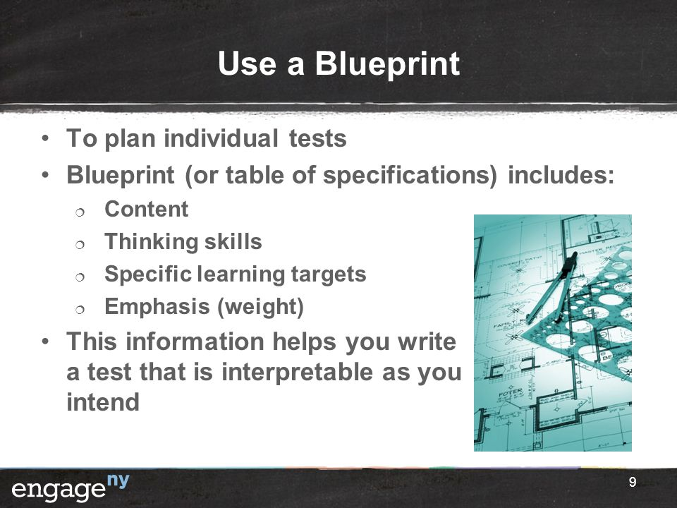 Use a Blueprint To plan individual tests