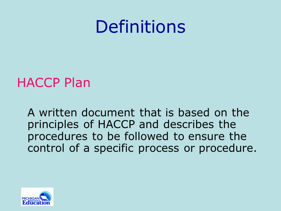 Definitions HACCP Plan