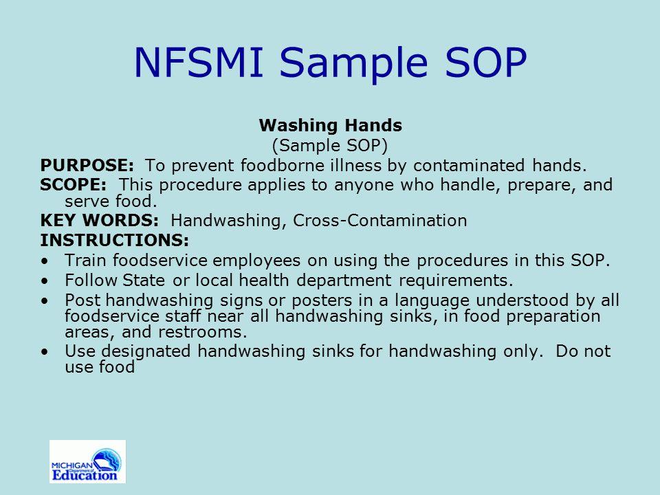 NFSMI Sample SOP Washing Hands (Sample SOP)