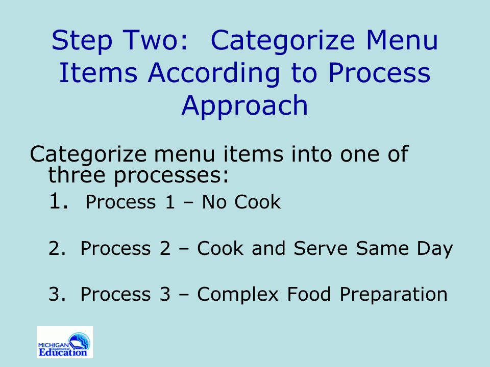 Step Two: Categorize Menu Items According to Process Approach