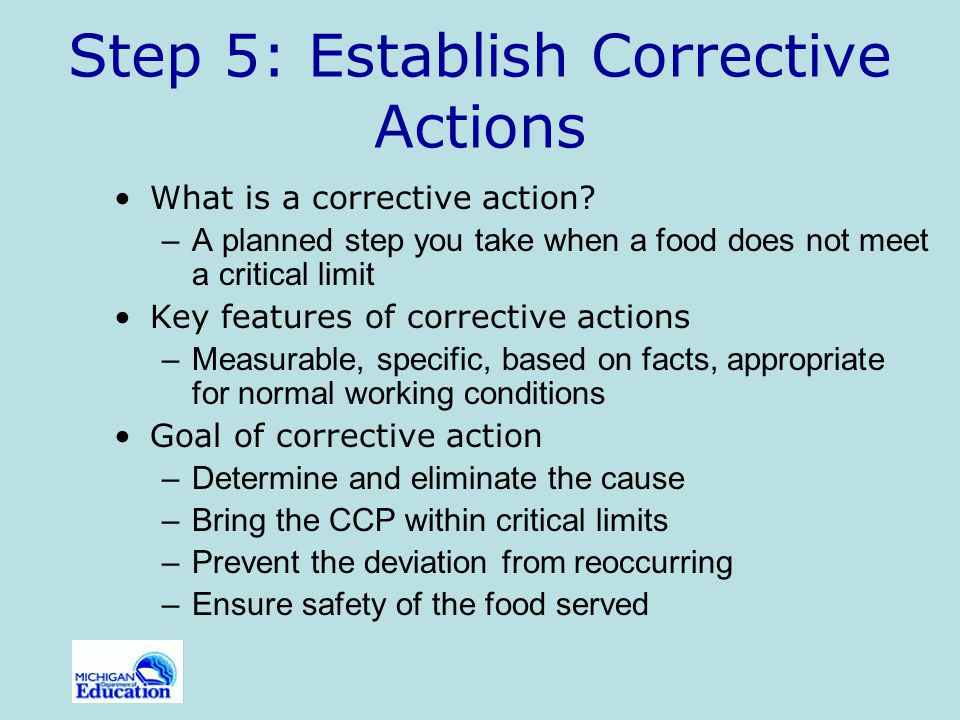 Step 5: Establish Corrective Actions