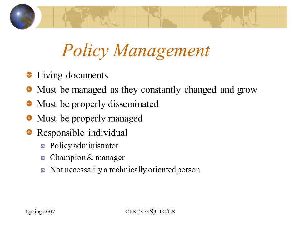 Policy Management Living documents