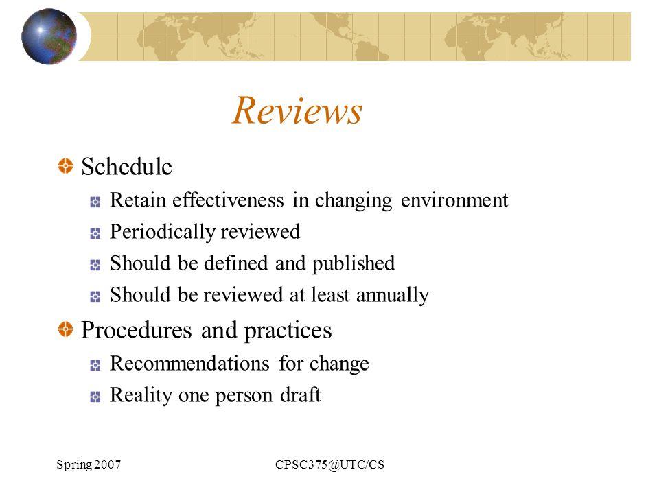 Reviews Schedule Procedures and practices