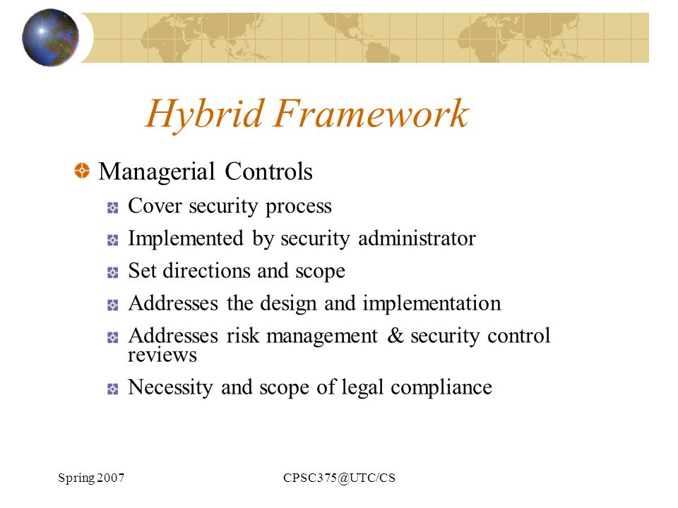 Hybrid Framework Managerial Controls Cover security process