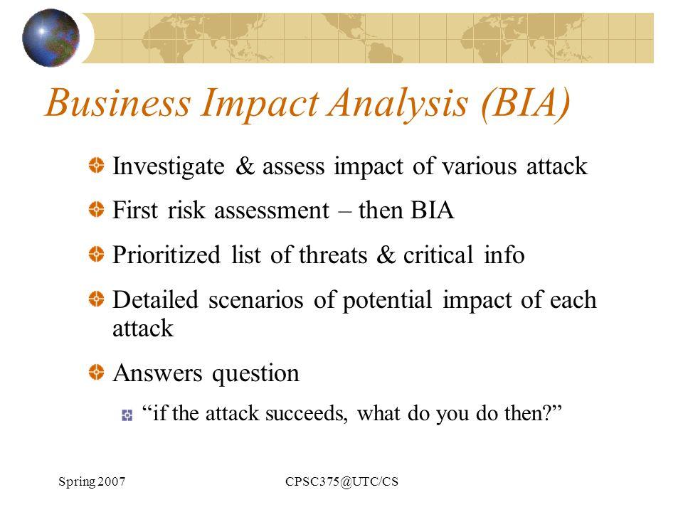 Business Impact Analysis (BIA)