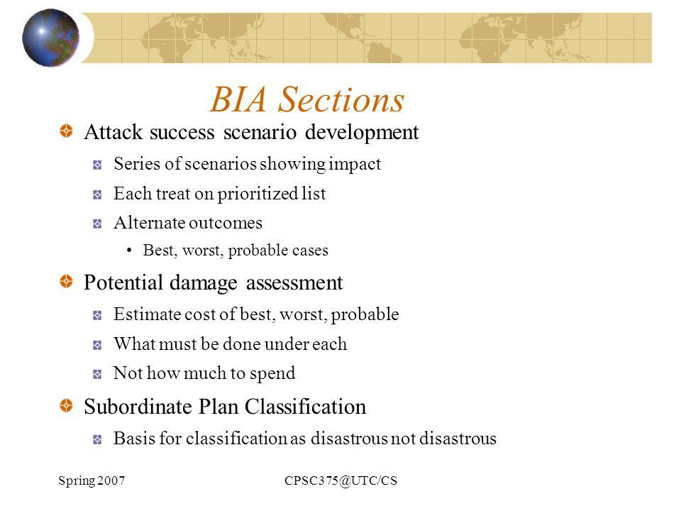 BIA Sections Attack success scenario development