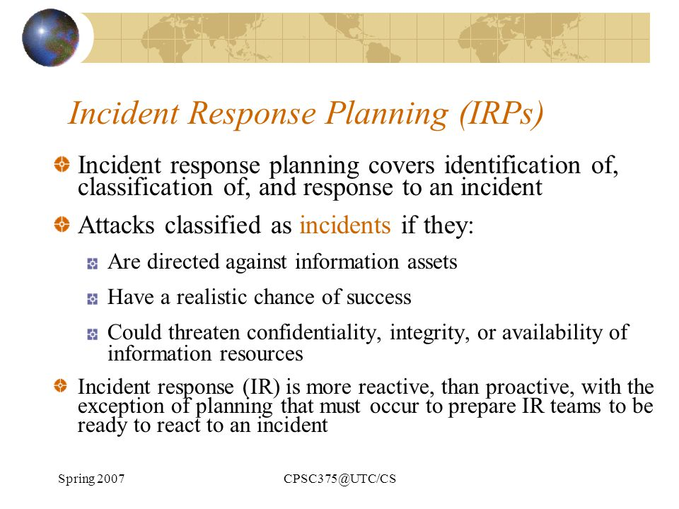 Incident Response Planning (IRPs)