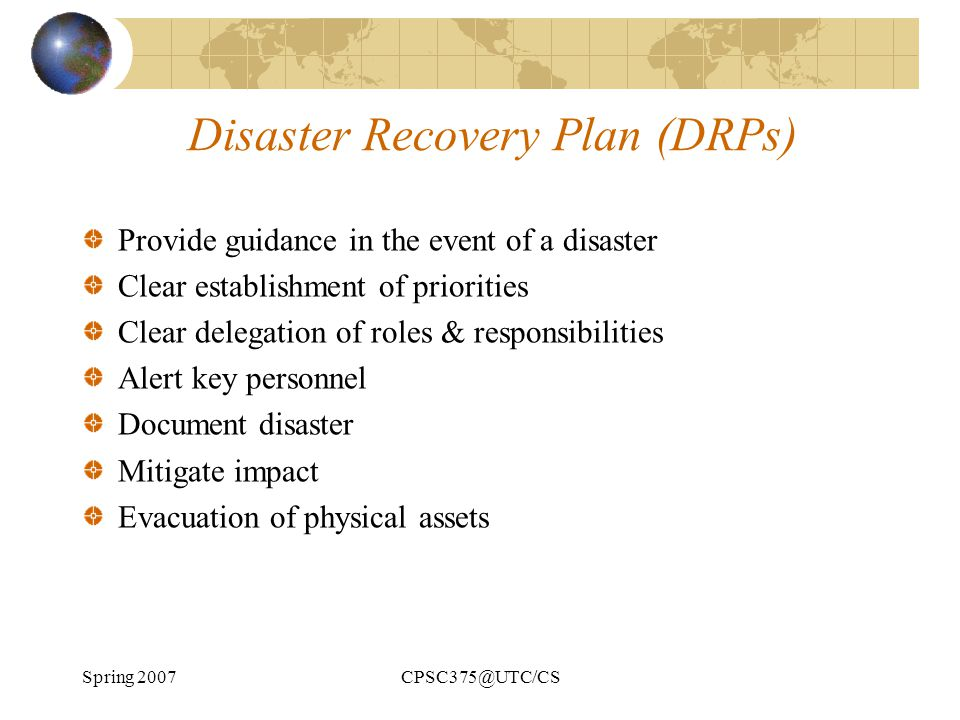 Disaster Recovery Plan (DRPs)