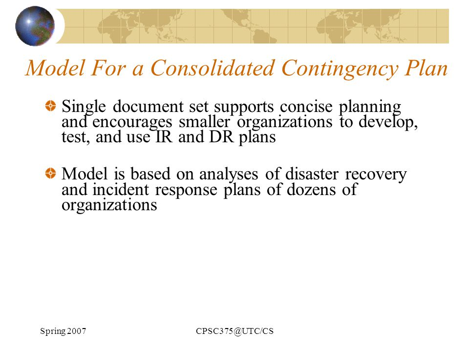 Model For a Consolidated Contingency Plan