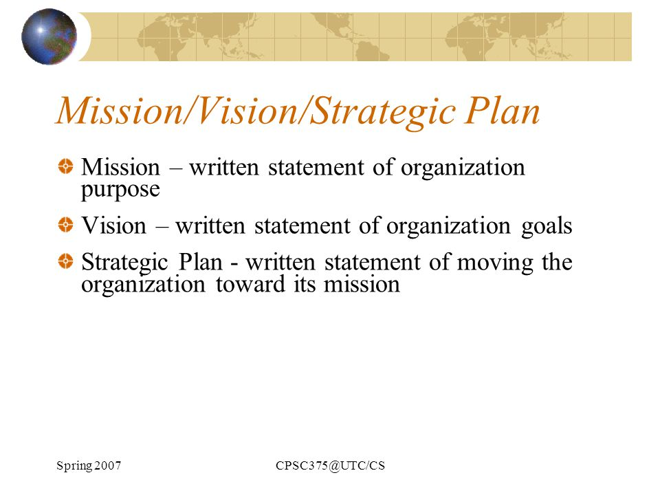 Mission/Vision/Strategic Plan