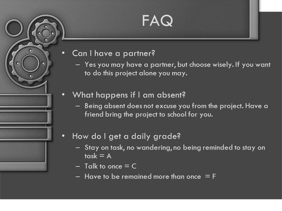 FAQ Can I have a partner What happens if I am absent