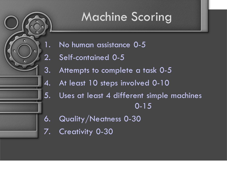 Machine Scoring No human assistance 0-5 Self-contained 0-5