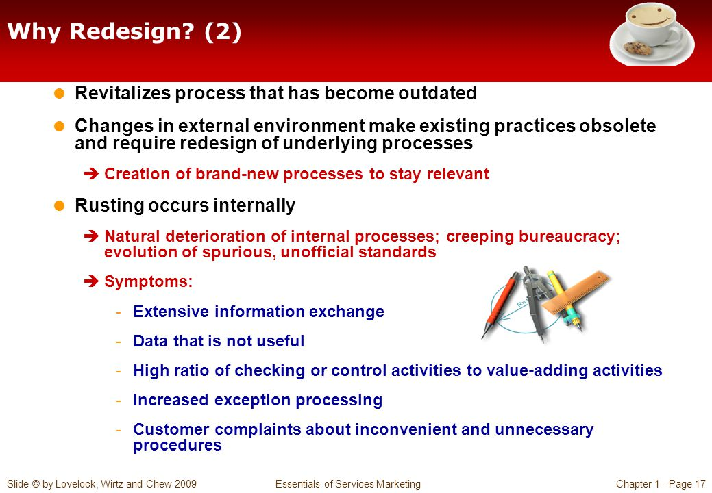 Why Redesign (2) Revitalizes process that has become outdated