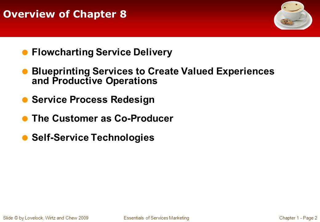 Overview of Chapter 8 Flowcharting Service Delivery. Blueprinting Services to Create Valued Experiences and Productive Operations.