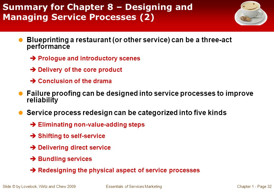 Summary for Chapter 8 – Designing and Managing Service Processes (2)