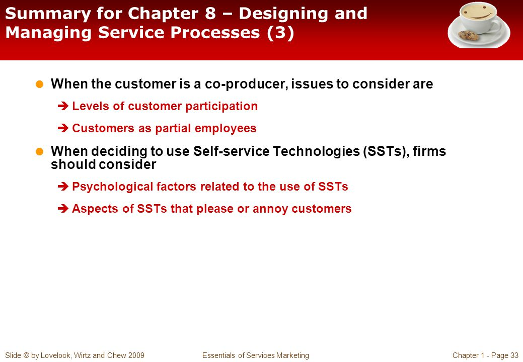 Summary for Chapter 8 – Designing and Managing Service Processes (3)