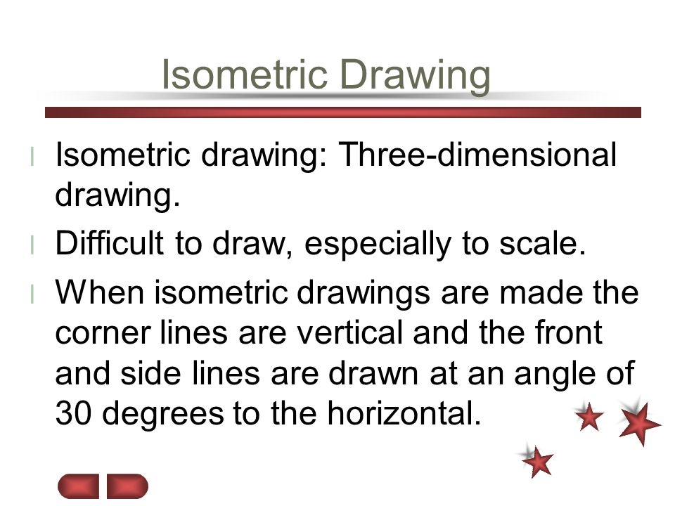 Isometric Drawing Isometric drawing: Three-dimensional drawing.