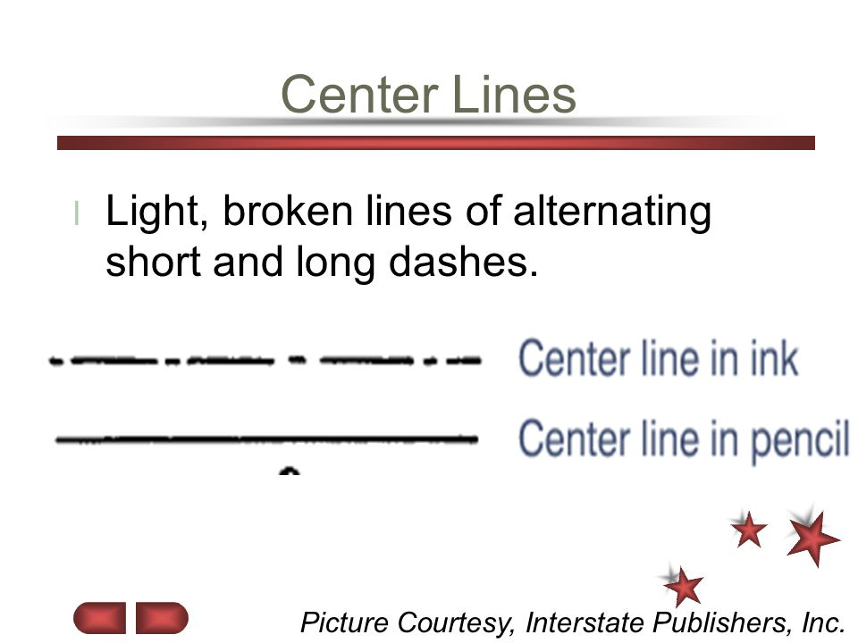 Center Lines Light, broken lines of alternating short and long dashes.