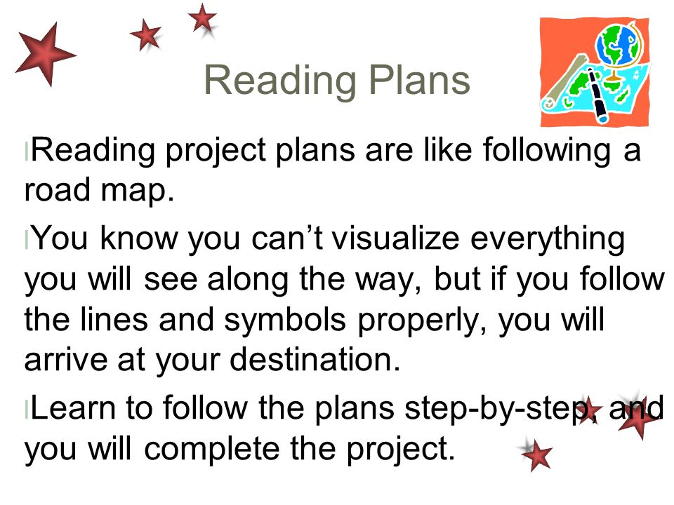Reading Plans Reading project plans are like following a road map.