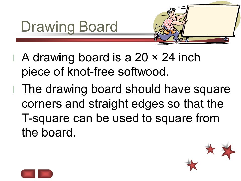 Drawing Board A drawing board is a 20 × 24 inch piece of knot-free softwood.
