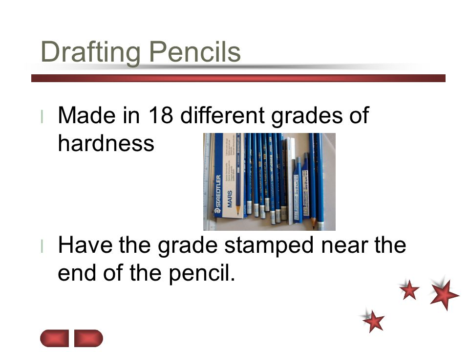 Drafting Pencils Made in 18 different grades of hardness