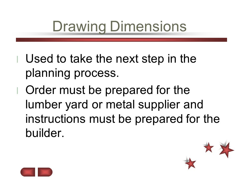 Drawing Dimensions Used to take the next step in the planning process.