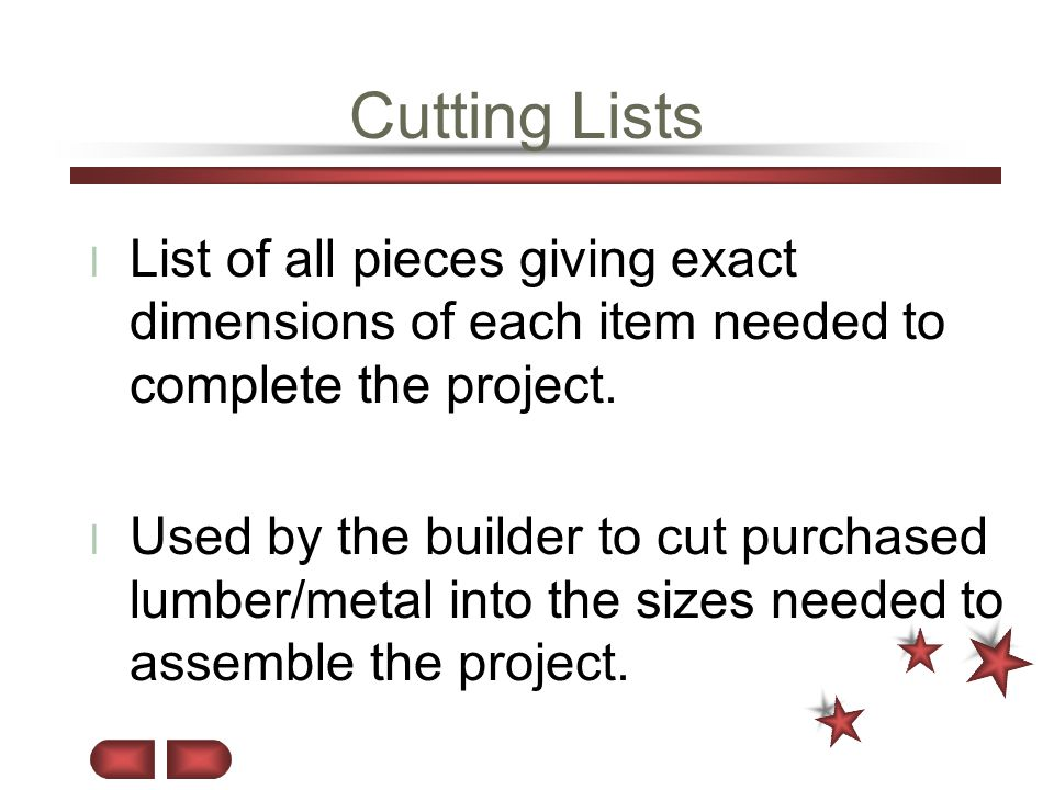 Cutting Lists List of all pieces giving exact dimensions of each item needed to complete the project.